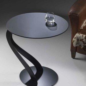 楕円サイドテーブル フロストガラス天板/SWAN 0/26 イタリア組立家具pezzani(幅56奥行48高さ48cm)