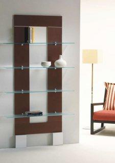 壁面ガラス シェルフ/PLANA-FRAME 0/72 イタリア組立家具pezzani (幅100高さ190cm)