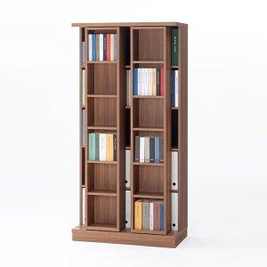 スライド棚2列書棚フナモコ(限定品)ACEシリーズ(リアルウォールナット 幅88奥行45高さ179.5)