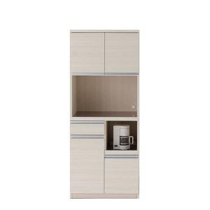 ステンレス天板レンジ台スライド棚木扉食器棚(ホワイトウッド 幅73.2奥行44.8高さ180 完成品)