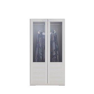 リビングシェルフ 洋服ガラス扉(ホワイトウッド 幅60奥行38.5高さ113.8cm)