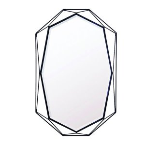 ブラック八角形アイアンフレーム ウォールミラー/長八角形(幅50x高さ78.2cm)