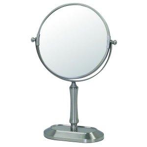 アイメイク用拡大鏡付円形デスクミラー(両面ミラー片側3倍 幅20.2奥行8.8高さ34cm)