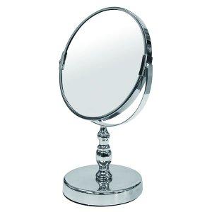 アイメイク用拡大鏡付円形デスクミラー(両面ミラー片側3倍 幅18.5奥行13高さ28.5cm)