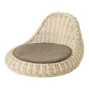 ラタン円形モダン座椅子(座ウレタンフォーム布貼り 幅44 奥行51 高さ25.5cm)