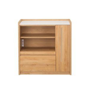 アルダー材/人工大理石天板カウンター(幅90奥行44.5高さ90.5)