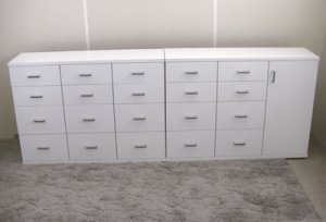 オーダー家具制作事例0378:カウンター下チェスト/左右2台(幅96.5x奥行28x高さ70)
