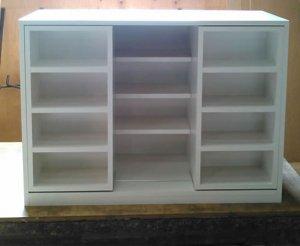 オーダー家具制作事例0565:カウンター下収納(CD収納 スライド棚)(幅111x奥42x高78)