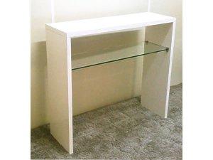 オーダー家具制作0609事例:コンソールテーブル ガラス棚板付(幅90x奥28x高さ80)
