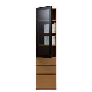 ブックすきまくんBSP/上段ガラス扉-下段引出 幅45x高さ180.2cm