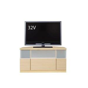 コーナー薄型テレビボード/ゲーム機収納(幅90x高さ42/ナチュラル色/完成品)