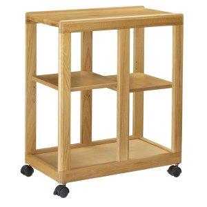 木製ダイニングワゴン/棚板移動式(ライト色 キャスター付)[幅33.2奥行60高さ70]