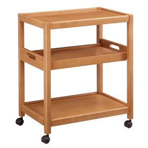 木製キッチンフリーワゴン ライト色(キャスター付 お盆用棚板付)[幅60奥行40高さ70]