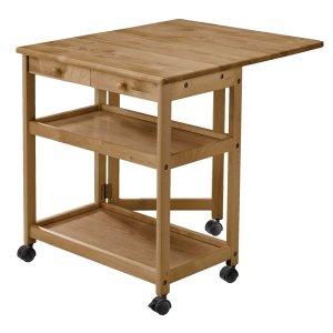 木製キッチンバタフライワゴン(IY色 キャスター付 奥78/39)[幅64高さ70]