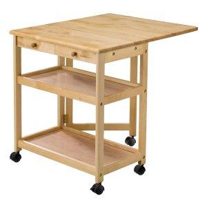 木製キッチンバタフライワゴン(NA色 キャスター付 奥78/39)[幅64高さ70]