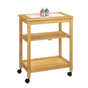 木製キッチンワゴン/天板タイルトップ ナチュラル色(キャスター付)[幅58奥行35高さ70]