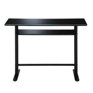ガラストップ カウンターテーブル/天板下棚付(ブラック 幅120奥行45高さ90)
