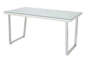 ガラストップ スチール脚ホワイト ダイニングテーブル(6mm厚強化ガラス/飛散防止加工 幅135奥行80高さ73)