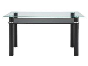 ブラックレザー脚ガラストップダイニングテーブル(10mm厚強化ガラス/飛散防止加工 幅140奥行85高さ73)