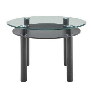 ブラックレザー脚ガラストップ円形ダイニングテーブル(10mm厚強化ガラス/飛散防止加工 幅105奥行105高さ73)