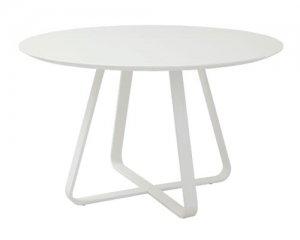 ハイグロスホワイト円形天板ダイニングテーブル/スチール脚(幅120奥行120高さ73cm)