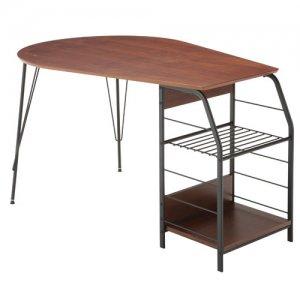 天然木ウォルナット化粧天板ラック付テーブル/ブラックスチールフレーム(幅128奥行80高さ73cm)