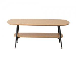 天然木アッシュ化粧天板リビングテーブル/ブラックスチールフレーム(幅100奥行50高さ40cm)