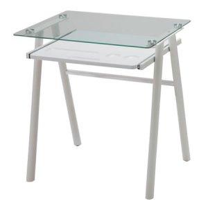 スライドトレー付ガラストップデスク(ホワイト 幅70奥行50高さ73cm)