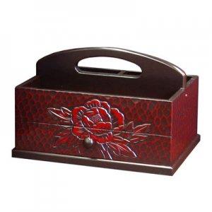 手彫り 枕元ボックス(幅30x奥行21x高さ20)