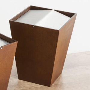 アルミ回転蓋ダストボックス ルーフL(ウォールナット色 幅26.5奥26.5高さ34cm)