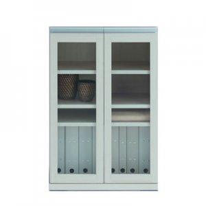 組合せスタッキング|ガラス扉キャビネット(ホワイトウッド柄 幅60.2奥行38.7高さ90)