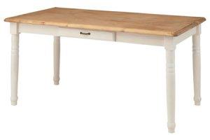 カントリー調ナチュラル&ホワイト/ダイニングテーブル(天然木パイン 幅150奥行80高さ70cm)