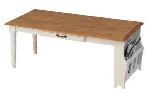 カントリー調ナチュラル&ホワイト/センターテーブル(天然木パイン 幅105奥行30高さ40cm)