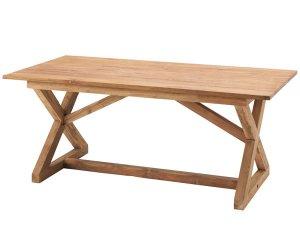 天然木チークダイニングテーブル クロス角脚(幅150奥行80高さ72cm)