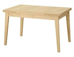 エクステンション式ダイニングテーブル4人掛/天然木タモ(幅120/180x奥行75x高さ72cm)