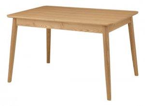 エクステンション式ダイニングテーブル4人用(天然木アッシュ/タモ 幅120〜150x奥行80x高さ72cm)