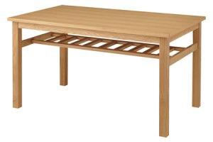 棚付きダイニングテーブル4人用(天然木アッシュ/タモ 幅135x奥行80x高さ72cm)