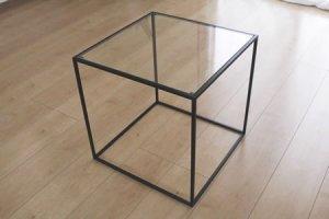 アイアン トレイテーブル ガラス天板(ブラック/幅40x奥行40x高さ40)