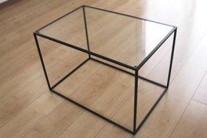 アイアン トレイテーブル ガラス天板(ブラック/幅60x奥行40x高さ40)
