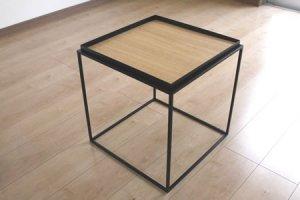 アイアン トレイテーブル ナラ突板(ブラック/幅40x奥行40x高さ41.2)