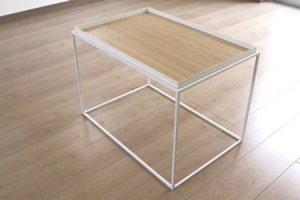 アイアン トレイテーブル ナラ突板(ホワイト/幅60x奥行40x高さ41.2)