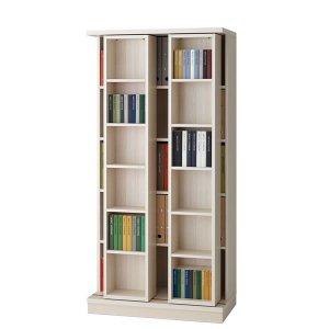 スライド棚2列書棚フナモコ(限定品)ACEシリーズ(ホワイトウッド 幅88奥行45高さ179.5)