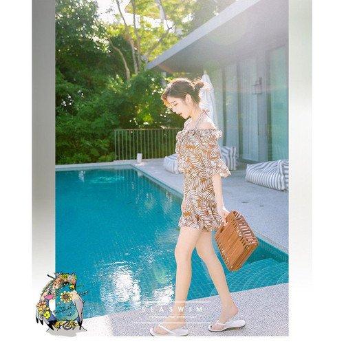 aa45d80eb67 ビキニ水着 ワイヤー入り バストアップ ハイウエスト ホルターネックビキニ レディース 水着 & シフォンサロペット・ビーチドレス 3点  セットアップ水着 褐色 ...