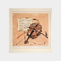 「Violin(B)」 エッチング 23.5cm×25.5cm(縦×横)