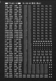 【N】TTL801-16A キハ58・40標記(東北・烏山) 白文字