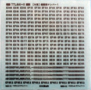 【N】TTL881-11B 機関車ナンバー1B(つや消しタイプ)