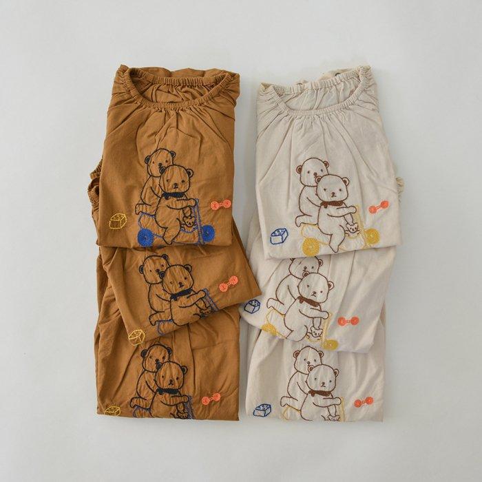 くま刺繍ロンパース L/S