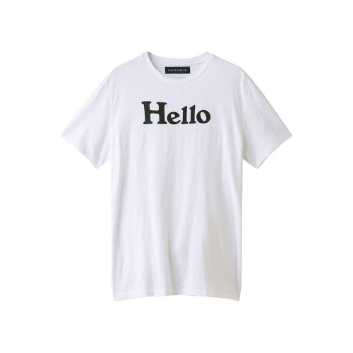 MADISONBLUE【マディソンブルー】 HELLO クルーネックTシャツ white black