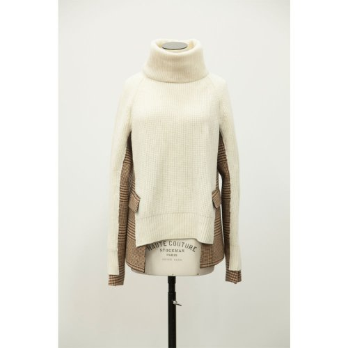 sacai 【サカイ】 Side Tweed Turtle Neck Pullover (18-04020)