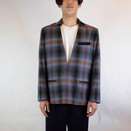 【MEN's 】CINOH【チノ】チェックプルオーバーVネックジャケット